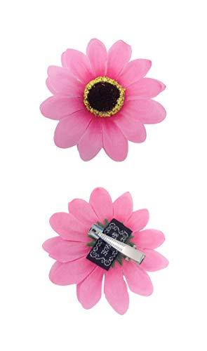 Faschingskönig 60er 70er Jahre Hippie Haarschmuck Blume Flower Power Outfit Zubehör Haarclip Blumenmädchen (Pink) (70er Jahre Kinder Kostüm)