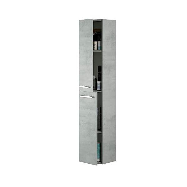 Columna Aseo baño para Lavabo suspendida en Color Gris Cemento Tiradores y 2 Puertas diseño Actual 30x25x150 cm