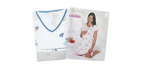 Moonline nightwear - Chemise de nuit - À Fleurs - Manches Courtes - Femme Rose - Weiß/Rosa/Rot
