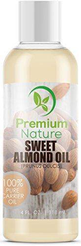 Sweet Almond Oil Mandelöl Trägeröl - Premium Nature Körperöl Gesichtsreinigung Mandeln Massageöl Mandel Gesichts Baby Öl Haare Feuchtigkeitspflege Trockene Haut Augen Make-Up Entferner 4 oz - Baby-massage-behandlung