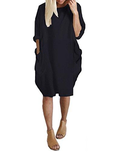 Kidsform Femme Tunique Longue Pull Grand Taille Casual T-Shirt Robe Hiver Décontractée avec Poches Noir EU 44