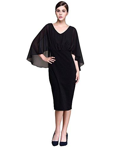 Moollyfox Femmes Robe de Soirée Solide Bat Manches V Col Cocktail Crayon de Robe Noir