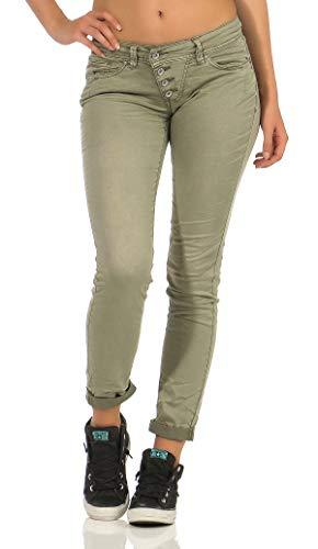 Buena Vista Malibu Stretch Twill Damen Jeans mit dekorativer Knopfleiste Khaki M -