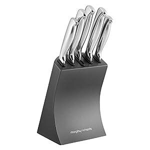 Morphy Richards Accents Knife Block, Satin, Stainless Steel Finish, Titanium, 5 Piece