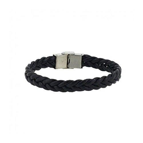 Bracelet Homme Cordon Tresse 10mm Fermoir Acier - Couleur au Choix Noir
