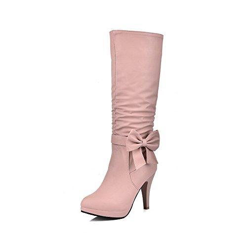 AllhqFashion Damen Überknie Hohe Stiefel Reißverschluss Hoher Absatz Rund Zehe Stiefel, Weiß, 33