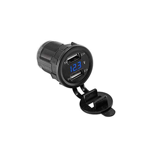 JENOR 12V 24V Doppel-USB 5V 2.1A Auto-Ladegerät-Stromadapter LED Voltmeter Für LKW-Boot