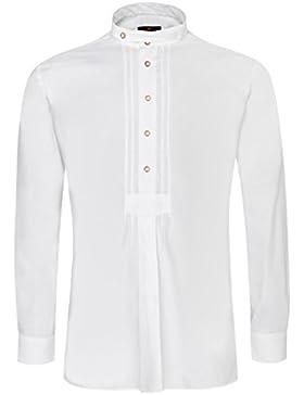 Hammerschmid Trachtenhemd Alfred Slim Fit mit Biesen in Weiß