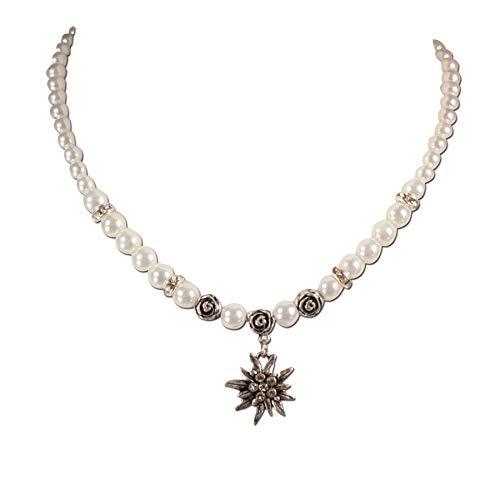 Heimatflüstern Trachtenschmuck * Trachtenkette Perlen & Strass-Edelweiß klein * Damen Dirndlkette * Perlenkette Oktoberfest Dirndl-Schmuck (Creme-weiß)
