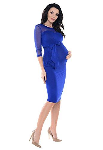 Purpless Maternity Herzformig Dekollete Schwangerschaft Kleid mit Elastiche Spitzen Panel D012 Royal Blue