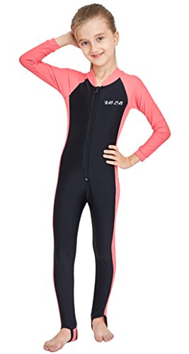 HaoLian Girls One Piece Swimsuit Full Bodysuit UPF 50+ Sun Protection Long Sleeve Surfing Thermal Wetsuit Sunsuits for 3-14 Years