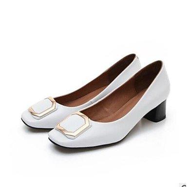 Wuyulunbi@ Scarpe donna pu primavera cadono Comfort tacchi Chunky tallone punta chiusa per outdoor casual bianco nero Bianco