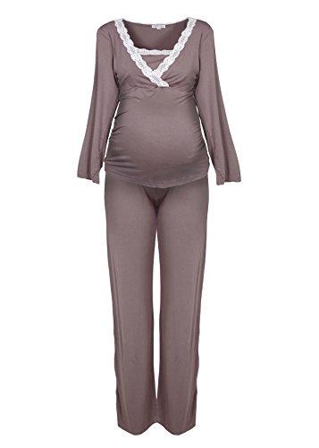 Herzmutter Stillpyjama-Umstandspyjama-Schlafanzug für Damen mit Spitze, Nachtwäsche für Schwangerschaft und Stillzeit-Stillfunktion, Lang-Langarm, Grau-Dunkelblau-Taupe (2000) (M, Taupe)