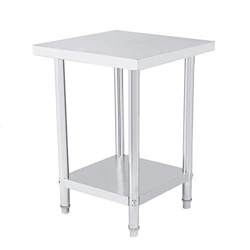 Ausla Küchentisch, Arbeitstisch aus Edelstahl, doppelwandig, 0,6 mm, Tisch für Küche (61 x 61 x 85 cm)