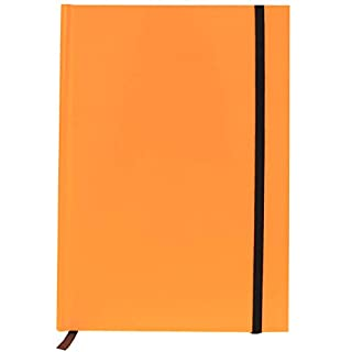 A5 Neon Orange Notebook with Bookmark & Elastic Strap 160 Page Hardback Lined Ruled Note Pad