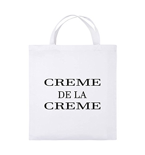 Comedy Bags - CREME DE LA CREME - Jutebeutel - kurze Henkel - 38x42cm - Farbe: Schwarz / Silber Weiss / Schwarz