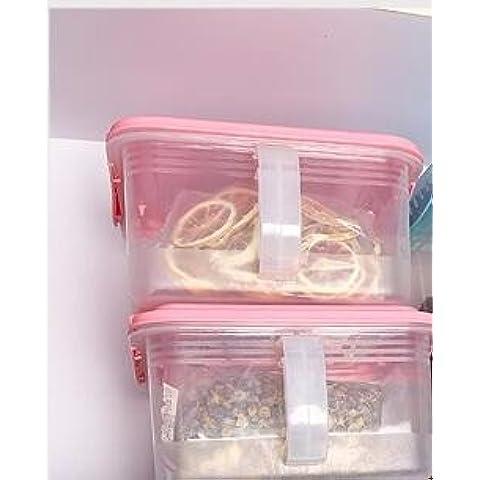 AQPDJ AQPDJ Caja de almacenamiento de plástico contenedor de almacenamiento frigorífico cocina fresca sellada en cartuchos de color rosa transparente