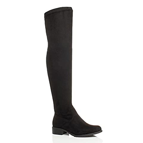 WOMENS LADIES LOW HEEL THIGH HIGH OVER THE KNEE STRETCH