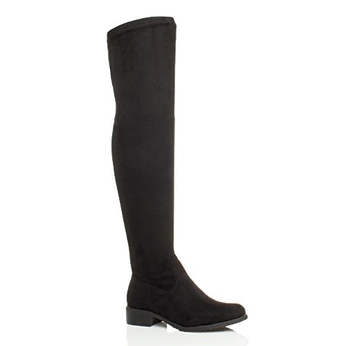 WOMENS LADIES LOW HEEL THIGH HIGH OVER THE KNEE STRETCH RIDING BOOTS...