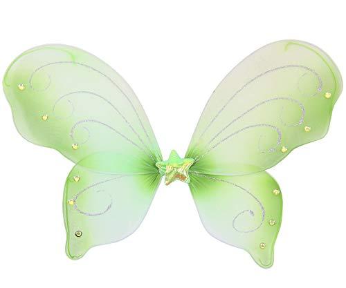 Tier Kostüm Fee - Foxxeo 35301 | grüne Schmetterlingsflügel für Mädchen | Feenflügel grün Tier Feen Flügel Fee Elfenflügel Mädchen Elfen Elf Zubehör Schmetterling Fasching Party Kostüm Mädchenkostüm Tierkostüm