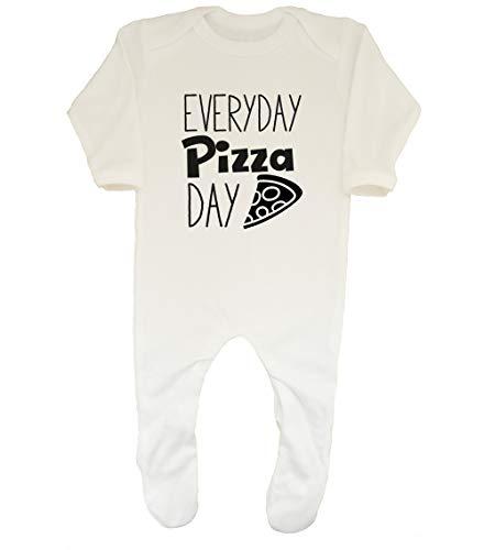 Shopagift Everyday Pizza Day Baby Sleepsuit Romper White