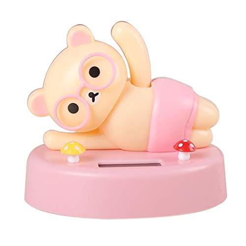 LOVIVER Fabulous Weaving Hand Bear Solar Angetriebene Cartoon Spielzeugauto - Rosa Bär -