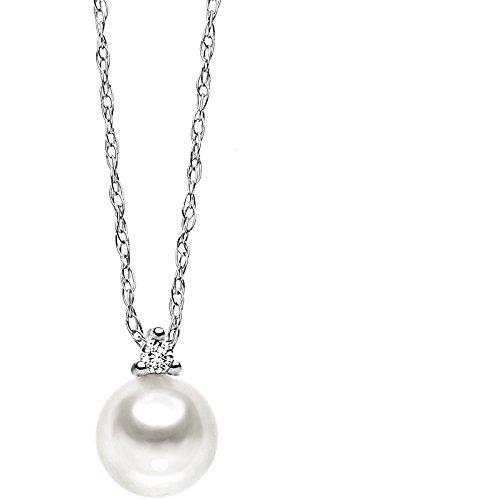Comete girocollo donna in oro bianco 750/°°° con diamanti e perla coltivata easy basic -glp434