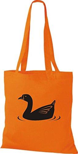 Shirtstown Stoffbeutel Tiere Ente, Duck Orange