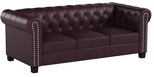Mendler 3er Sofa Loungesofa Couch Chesterfield Kunstleder ~ eckige Füße, rot-braun