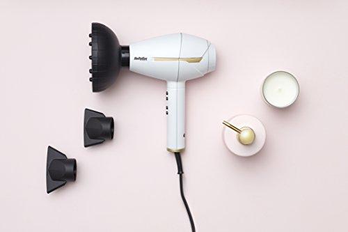 BaByliss 6735E Edición Especial White&Gold Secador de pelo profesional, difusor y 2 concentradores, motor AC, 2400 W, iónico, 6 ajustes de velocidad/temperatura, aire frío, Color Blanco