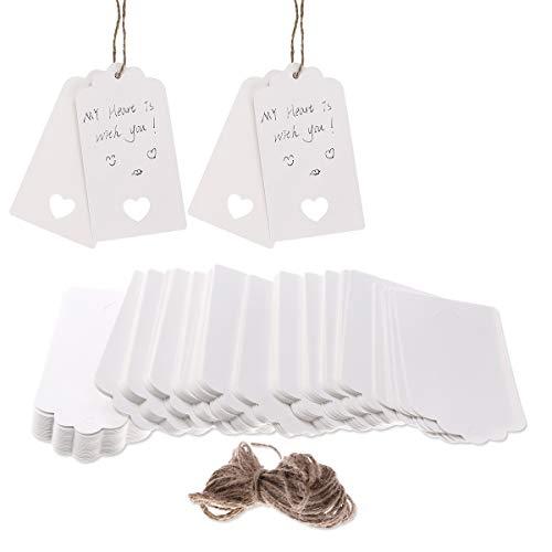 VORCOOL 100 Stück Geschenk Anhänger Papieranhänger Hängeetiketten Anhängeetiketten mit Faden (Kurze Mason Jars)