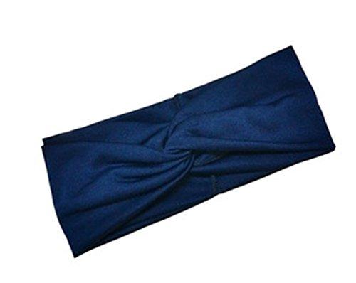 Damen Sport Stirnband Haarband verknotetes Kopfband Yoga Joggen Freizeit (Marineblau)