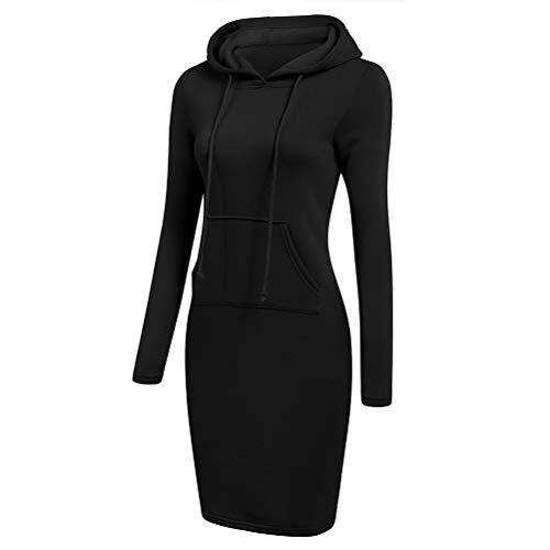 SODSIM Damen Bodycon Kapuzenkleid Hoodie Sweatshirt Kleid mit Kapuze und Tasche Lange Kapuzenpulli Kleid