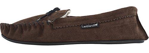 Lambland Mesdames/pour femme en daim véritable laine d'agneau et fabrication britannique Mocassin Pantoufles avec semelle en PVC Marron - marron