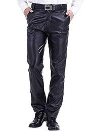 Pantalon Homme PU Cuir Métallisé Large Étanche Zippé Loisir Slim Anti-Vent  Antikérosène Pantalon de 2aacbfd20884