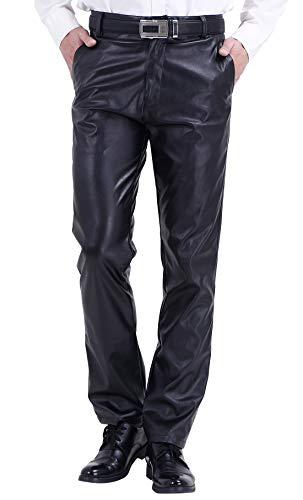 DUOLUNJINDUN Herren Bikerjeans PU Leder Bikerhose Wasserdichte Lederhose Weich und Atmungsaktiv - Schwarz Größe 35 -
