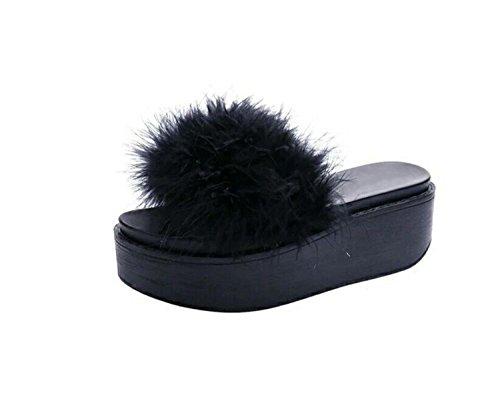 Flauschige Faux Hausschuhe Rutschfeste Weiche Plattform Hausschuhe & Flip Flops Casual Outdoor-Schuhe (Weiß Grau Schwarz) (Color : Black, Size : 36) (Schwarz Schaffell-plattform)
