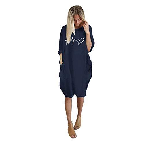 UFACE Damen Elegant V-Ausschnitt Kurze Ärmel Strandkleid Boho Blumendruck Split Kleid Sommerkleid MaxiKleid Mit Gürtel