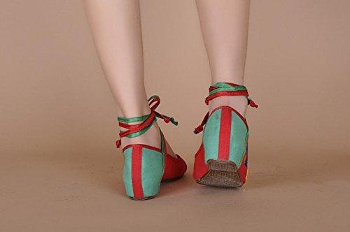 ZLL Schmetterling Gestickte Schuhe, Sehnensohle, ethnischer Stil, Femaleshoes, Mode, bequem, Tanzschuhe red green