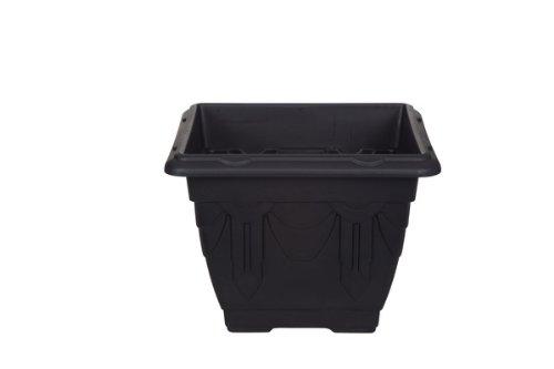 Whitefurze Pflanzkübel, quadratisch, plastik, schwarz, 22 cm