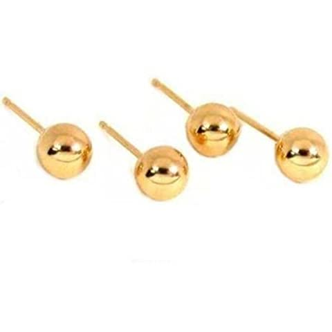 4 14K Yellow Gold Ball Earrings Studs Posts Piercing by FindingKing