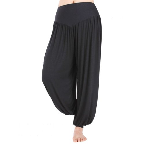 HOEREV Super weiche Modal Spandex Harem Yoga Pilates Hosen, Gr.-Medium,Schwarz