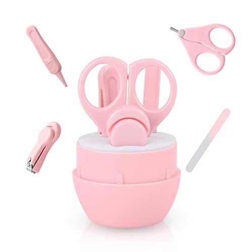 Baby Nagelscheren Set, Funkprofi Babypflege 4 in 1 Nagelpflege Nagelknipser Glasnagelfeile und Nasenpinzette Nagelfeile Pink