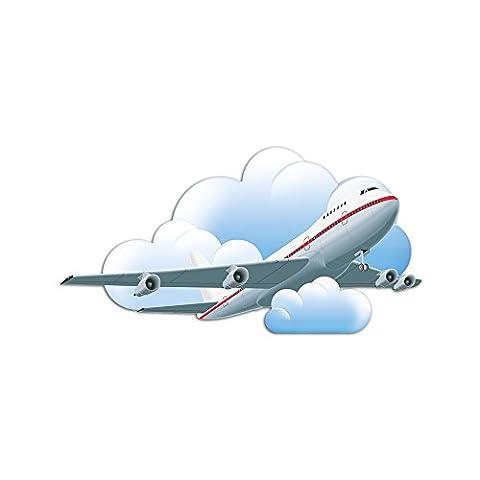 Wandsticker Fahrzeuge Aufkleber für Jungs Kinderzimmer Flugzeug Wolken fliegt (Aerei Ventose)