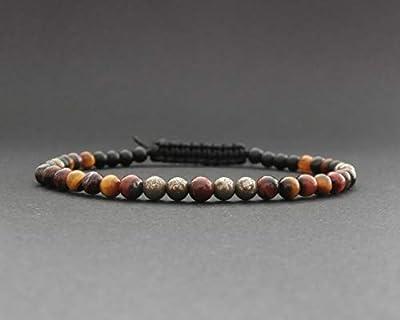 Bracelet fin homme pierres pyrite, onyx noir mat, œil de tigre rouge et jaune