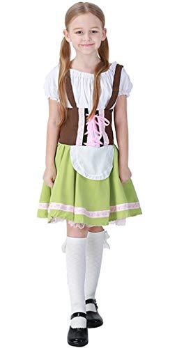 MOMBEBE COSLAND Mädchen Trachtenkleid Oktoberfest Kostüm Dirndl Karneval (Grün, L)