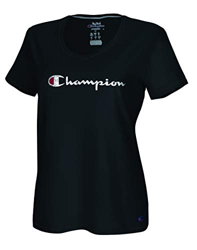 Champion Damen Vapor Cotton V-Neck Tee T-Shirt, schwarz, 2X -