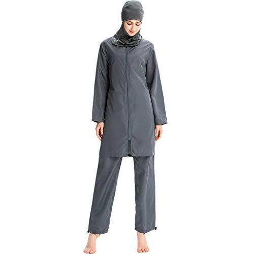 Xmansky Muslimischen konservative Damen Bademode mit Mützen dreiteilig,Sommer Badeanzug Beachwear Swimwear Burkini Watersport 1PC Badekappe + 1PC Reißverschluss Badeanzug + 1 PC Badehose -