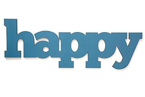 3D Schriftzug Holz Happy 12 x 4,2 cm Nachtblau Verschiedene Größen Dekoration Anders & Komisch. Farbenfrohe Begeisternde