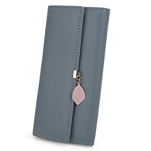 UTO Damen PU Leder Lange Brieftasche mit Blatt Anhänger Kartenhalter Handytasche Mädchen Reißverschluss Geldbörse Grau Blau